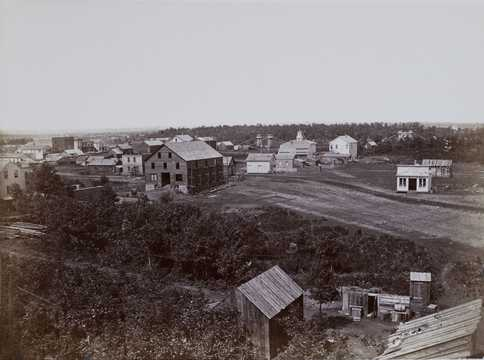 Black and white photo print of Minneapolis, c.1857.