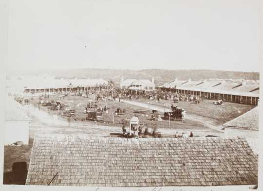 Black and white photograph of the Minnesota State Fair at Fort Snelling, 1860.