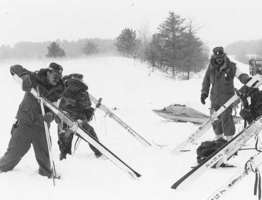 Black and white photograph of winter operations training at Camp Ripley, ca. 1980.