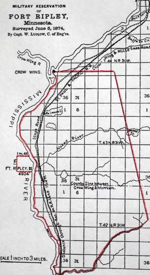 Color scan of a map of Fort Ripley as surveyed in 1874.
