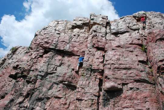Color image of rock climbing, 2014. From the photograph collection of the Minnesota Department of Natural Resources.