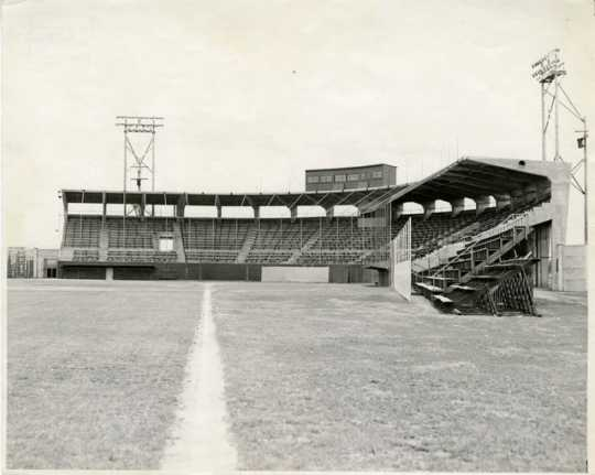 Municipal Stadium was the home of the Rox from 1948-1970. This photograph is taken down the third base line and shows the main grandstand and press box, c.1950. From the Stearns History Museum and Rearch Center, St. Cloud, and donor Ed Stockinger.