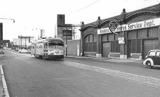 Black and white photograph of a President's Conference Committee (PCC) streetcar #419, July 27, 1953. Photographed by John Runk, Jr.