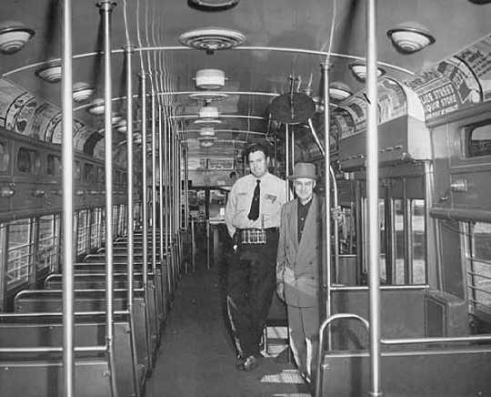 Black and white photograph of the interior of a President's Conference Committee (PCC) streetcar, September 5, 1953. Photographed by John Runk, Jr.