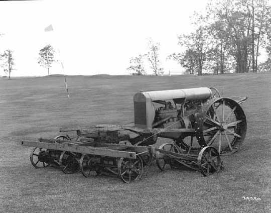 Black and white photograph of Toro Motor Company farm machinery, ca. 1920-1925. Photograph by C. J. Hibbard.