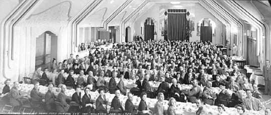 Photograph of the annual banquet of the Minnesota Farm Bureau Federation, Insurance Division held at the Lowery Hotel in St. Paul on January 16, 1950.