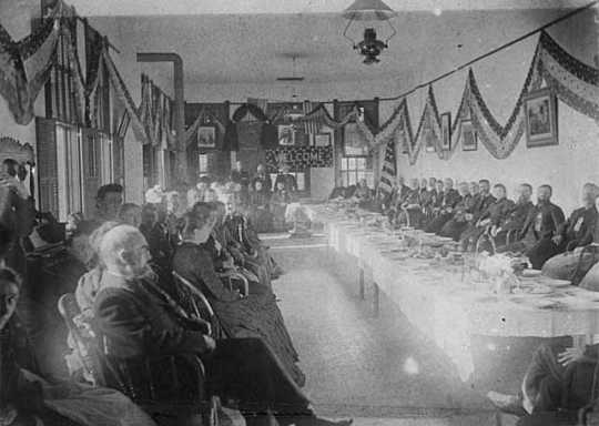 Black and white photograph of a State Grange meeting at Northfield. Taken by Edward Newell James, c.1875.