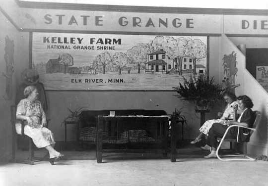 Black and white photograph of a State Grange booth at the Minnesota State Fair, c.1948.