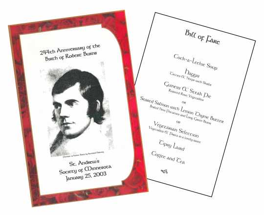 Minnesota Burns Night Supper program