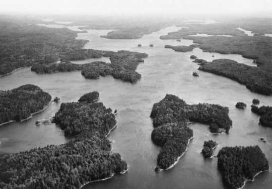 Black and white aerial photo of the Boundary Waters Canoe Area, ca. 1980.