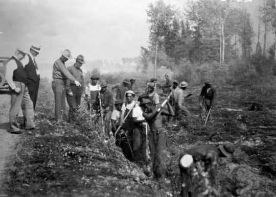 Black and white photograph of African American Civilian Conservation Corps fire fighters, northern Minnesota, ca. 1933. Photographed by the St. Paul Dispatch.