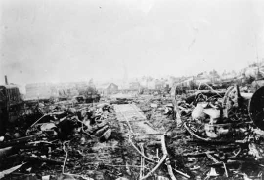 Black and white photograph of Duluth & Northeastern Railroad yards after the fire, 1918.