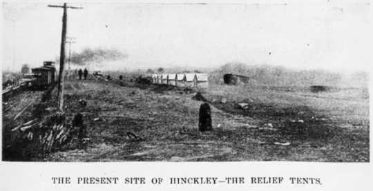 Tents erected for victims of the fire in Hinckley, 1894.