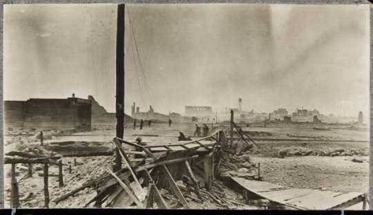 View of the Hinckley main street the morning after the fire, 1894.