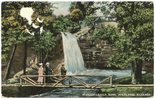 Colorized postcard of Minneopa Falls, Minnesota State Park, Mankato, Minnesota, ca. 1915.