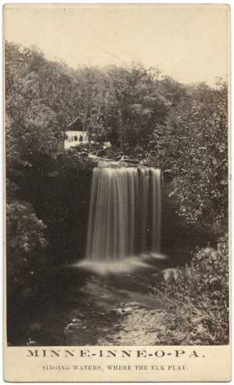 Black and white photograph of Minneopa Falls, ca. 1865. Photograph by Whitney's Gallery.