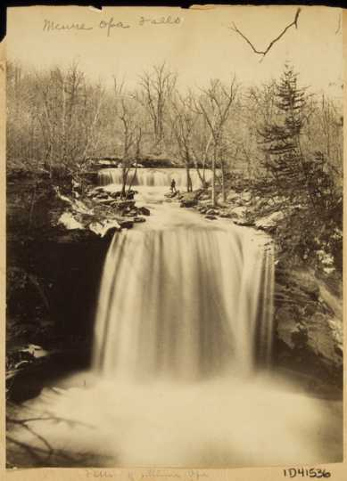 Black and white photograph of Minneopa Falls, Minnesota, ca. 1865.