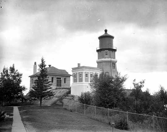 Black and white photograph of Split Rock Lighthouse by Eugene Debs Becker taken in August of 1959.