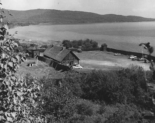 Restored stockade at Grand Portage
