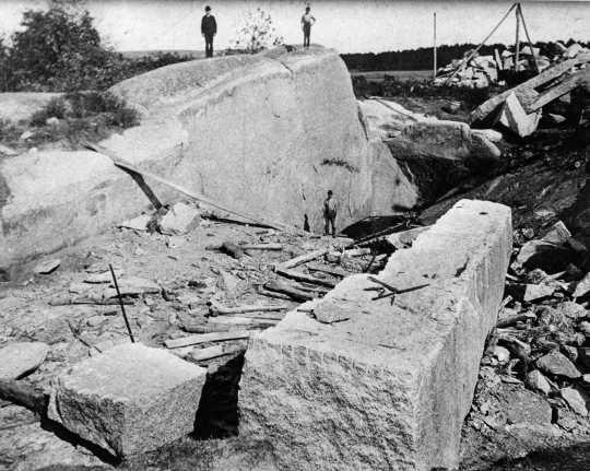 Black and white photograph of Quarry, Rockville Granite Company, Rockville, Minnesota, c.1910