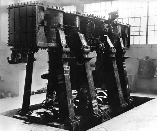 Black and white image of Marine Engine Block, War Production, c.1943