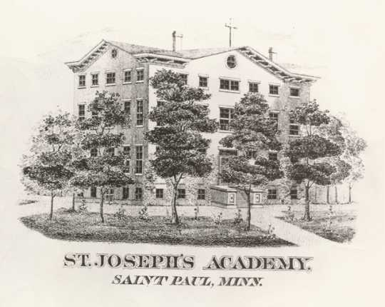 Black and white engraving made in 1863 of the exterior of St. Joseph's Academy.