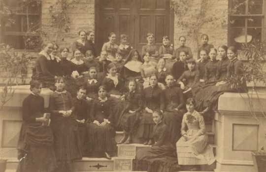 Black and white photograph of the St. Joseph's Academy high school class of 1883
