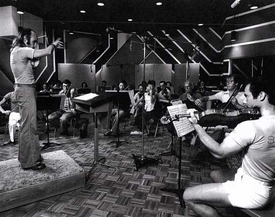 Black and white photograph of the St. Paul Chamber Orchestra recording at Sounds 80 Studio, 1978.