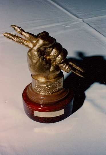 Color photograph of Minnesota Cartoonists Award presented to Curt Swan, October 2, 1993