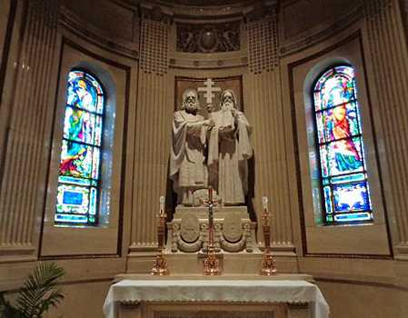 Color image of statues of Saints Cyril and Methodius in the St. Paul Cathedral's Shrine of Nations. Photographed by Paul Nelson on July 10, 2014.
