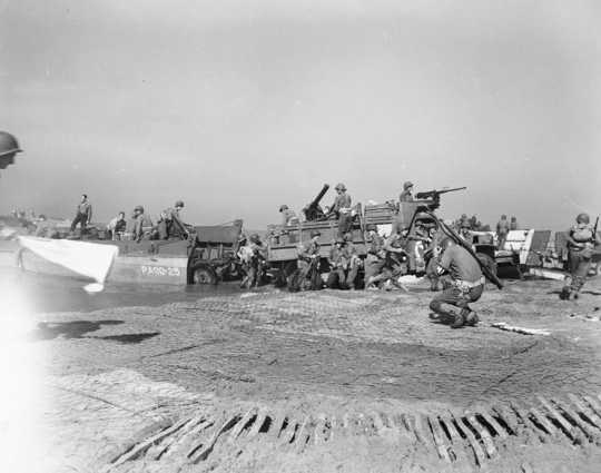 Scene during the invasion of Italy at Salerno Bay