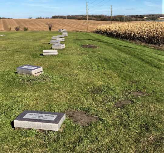 Gravestones awaiting installation outside Fergus Falls State Hospital