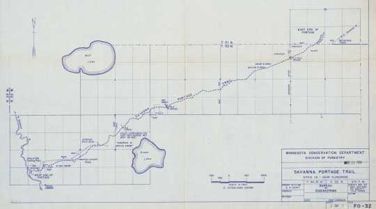 Map of Savanna Portage Trail, 1956. Minnesota Conservation Department, Division of Forestry. A3/0V5, Drawer 7, Folder 8. State Parks Maps and Drawings, Minnesota Division of Parks and Recreation. Government Records Collection, Minnesota Historical Society, St. Paul.