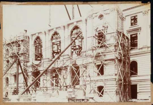 Scaffolding at the front entrance to the Capitol