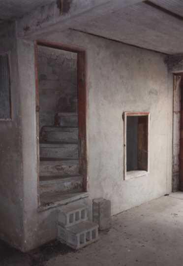 Color image of the steps inside Schott Barn, c.1985.