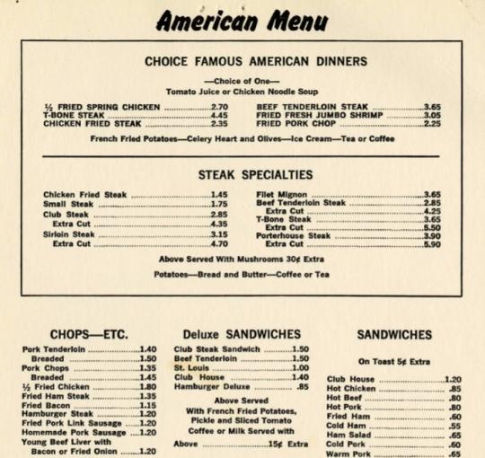 Section of the menu at Joe Huie's Café