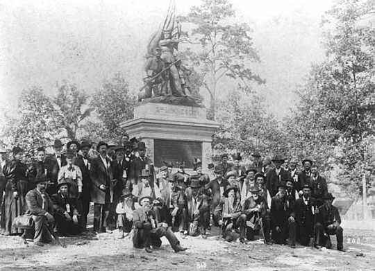 Second Minnesota Volunteer Infantry veterans at dedication of monument to Second Minnesota, Snodgrass Ridge, Chickamauga, Georgia.