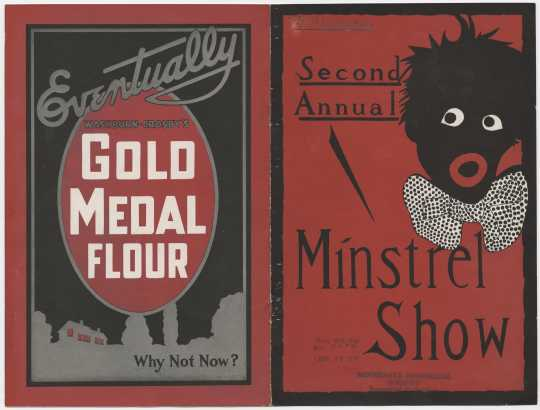 Front and back cover spread for a minstrel show featuring a Gold Medal Flour advertisement. This show was held at West High School auditorium in Minneapolis in an effort to raise money for the Fatherless Children of France. From the Minnesota Historical Society pamphlet collection, St. Paul.