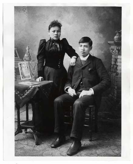 Mr. and Mrs. Yee Sing Woo while on their honeymoon at the Columbia Exposition in Chicago, Illinois.