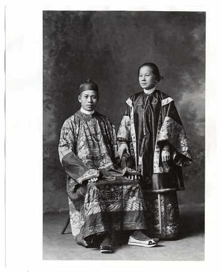 Mr. and Mrs. Yee Sing Woo. Wedding portrait.