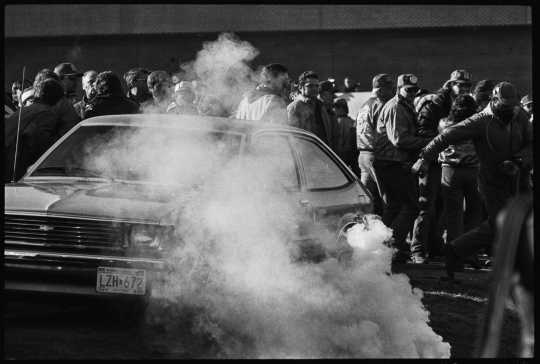 Police release tear gas on Hormel protesters