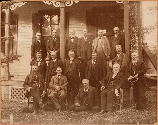 Survivors members of Company F, Sixth Minnesota Volunteer Infantry at the home of Captain Horace B. Wilson at Red Wing.
