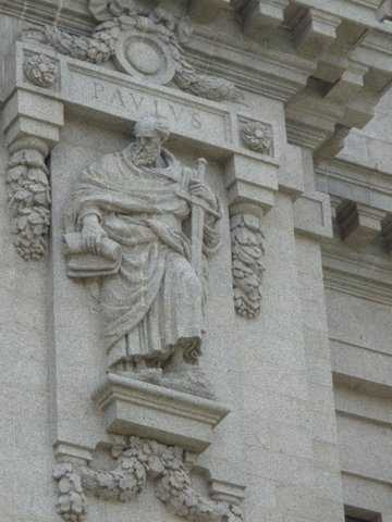 Color image of a relief statue of St. Paul carved by Leon Hermant for the exterior of the Cathedral of St. Paul. Photographed by Paul Nelson on July 10, 2014.