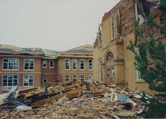 Photograph of a school destroyed by the St. Peter Tornado.
