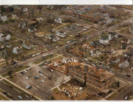 Aerial view of St. Peter showing massive destruction caused by the tornado.