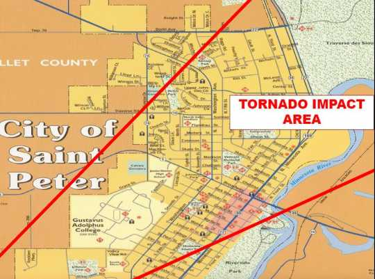 Map showing the path of the St. Peter Tornado.