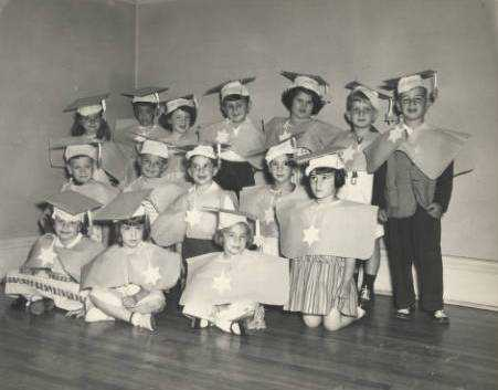 Black and white photograph of the St. Paul Talmud Torah Nursery School graduating class of ca. 1950.