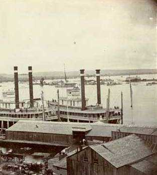 Steamboats Itasca and War Eagle at the St. Paul levee, 1859.
