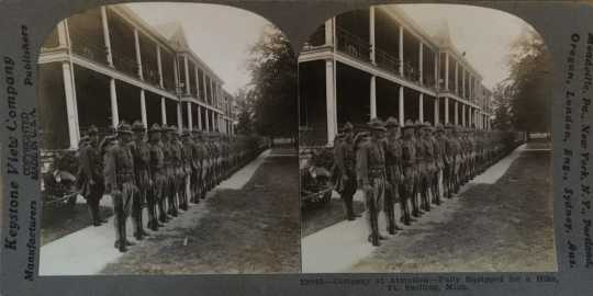 Black and white stereoview of officers-in-training at Fort Snelling, ca. 1917.