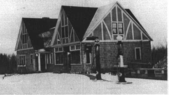 Black and white photograph of the Stickney Inn and Store, facing east, ca. 1929.